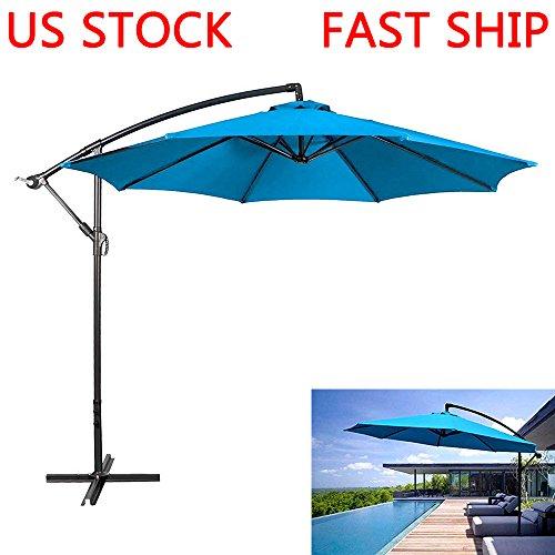 League Pool (LEAGUE&CO 10-Feet Offset Cantilever Umbrella Outdoor Hanging Patio Umbrella (Aqua Blue))
