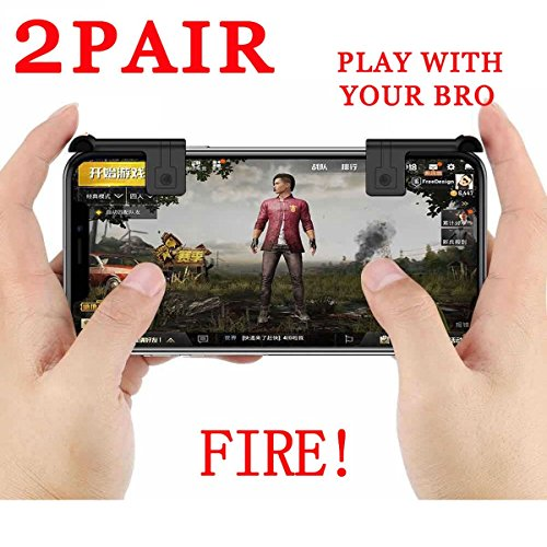 PUBG Mobile Game Controller Autra Fire Button and Aim Key Joystick Shooter control Gaming Gun Trigger for Rules of Survival, Sensitive Shoot iPhone,Sumsung Galaxy,Android,IOS (2 Pair)