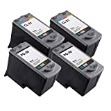 NUINKO 4 Pack Remanufactured Canon PG-30 Ink Cartridge Black Canon CL-31 Ink Cartridge Color for Canon PIXMA MP210 PIXMA MP140 PIXMA MP190 PIXMA iP2600 PIXMA MX310 PIXMA iP1800 PIXMA MP470 PIXMA MX300 Inkjet Printers