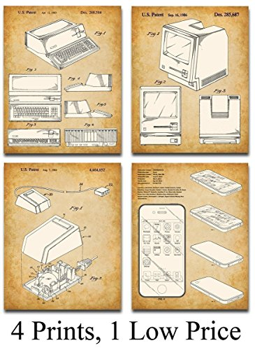 Original Steve Jobs Computer Patent Art Prints – Set of Four Photos (8×10) Unframed – Makes a Great Gift Under $ 20 for Computer Geeks / Gurus and Tech Support