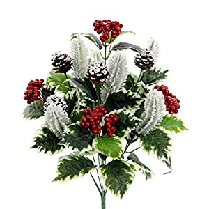 Admired By Nature GPB5811-GREEN 12 Stem Artificial Holly Leaves Berries Mixed Bush, Green 12