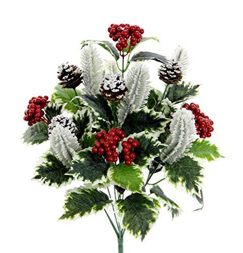 Admired By Nature GPB7811-SNOW Faux Holly Leaves Berries Pinecone Snow X'mas Bush, 10 - Pine Frosted Berry