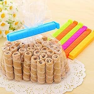 Tint Rectangle Shape Plastic 7pcs Freshness Seal Clips(Random Color)