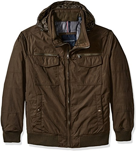 Tommy Hilfiger Men's Big Poly-Twill Two Pocket Performance Bomber Jacket, Army Green, 4X