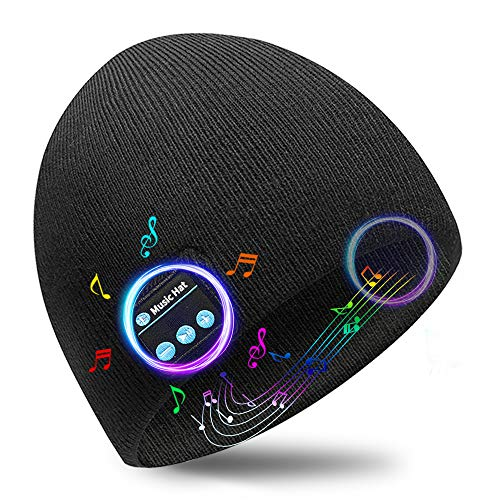 Bluetooth Beanie Christmas Birthday Gifts – Bluetooth 5.0 Wireless Headset Music Winter Beanie Hat Build in 2 HD Stereo…