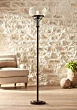 Luz Industrial Torchiere Floor Lamp Oil Rubbed Bronze Clear Glass for Living Room Bedroom Office Uplight - Franklin Iron Works