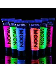 Moon Glow - Blacklight UV Glitter Face & Body Gel - 0.42oz Set of 6 - Blacklight Face Paint - glows brightly under Blacklight