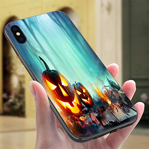 Creative iPhone Case for iPhone 7/8Pumpkins Burning in A Spooky Forest at Night Halloween Background Resistance to Falling, Non-Slip,Soft,Convenient Protective Case ()