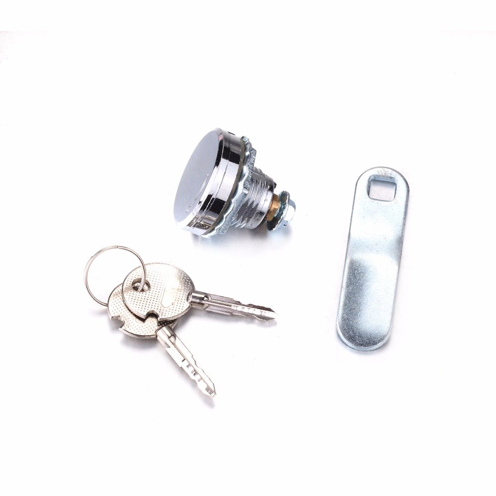 1PCS Zinc alloy Chrome smooth Cam Locks with Waterproof Cover 2 Key