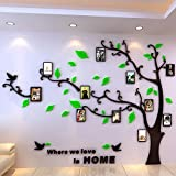 VANCORE DIY 3D Crystal Acrylic Mirror Photo Frame Tree Wall Art Sticker Removable Home Decoration