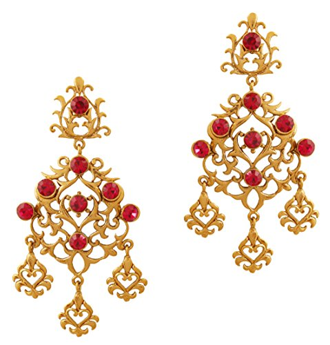 Touchstone Indian Bollywood Filigree Work Fuchsia Long Chandelier Jewelry Earrings in Antique Gold ()