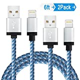 Image of Elktry, iPhone Charger Cable 2Pack 6FT Durable Nylon Braided Sync Wire Fast Lightning Charging Data Transfer Cord for iPhone7 7plus 6 6s 6plus 6splus SE 5s 5c 7 iPad Pro Air iPod (White Blue)