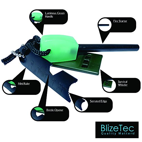 BlizeTec-Fire-Starter-Best-6-in-1-Magnesium-Emergency-Fire-Starter-With-Luminous-Green-Handle-Mini-Ruler-Bottle-Opener-Serrated-Edge-and-Rescue-Whistle-Last-Up-To-12000-Strike