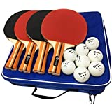 JP WinLook Ping Pong Paddle - 4 Pack; Pro Premium Table Tennis Racket Set; 8 Professional Game Balls; Rubber Spin Bat; Training Accessories Racquet Bundle Kit; Portable Cover Case; Indoor Outdoor