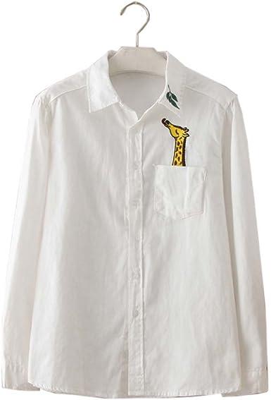 Camisa Blanca Simple Blusa Bordada Mujer Blusas Manga Larga Blusas, 02: Amazon.es: Ropa y accesorios