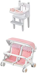 2 Unique Sets – Double Baby Carriage and High Chair Sets Sold Together (Japan Import)