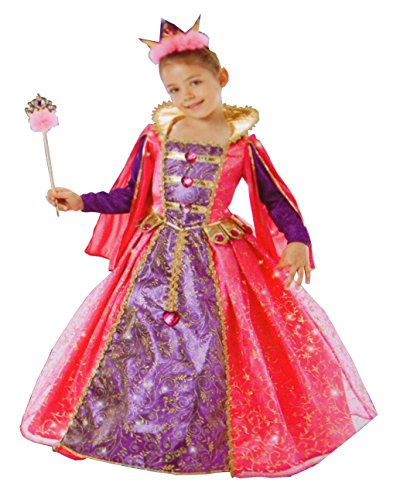 Princess Factory Girl's Enchanted Princess Jeweled Crown and Wand Costume (Pink and Purple) (3-4)