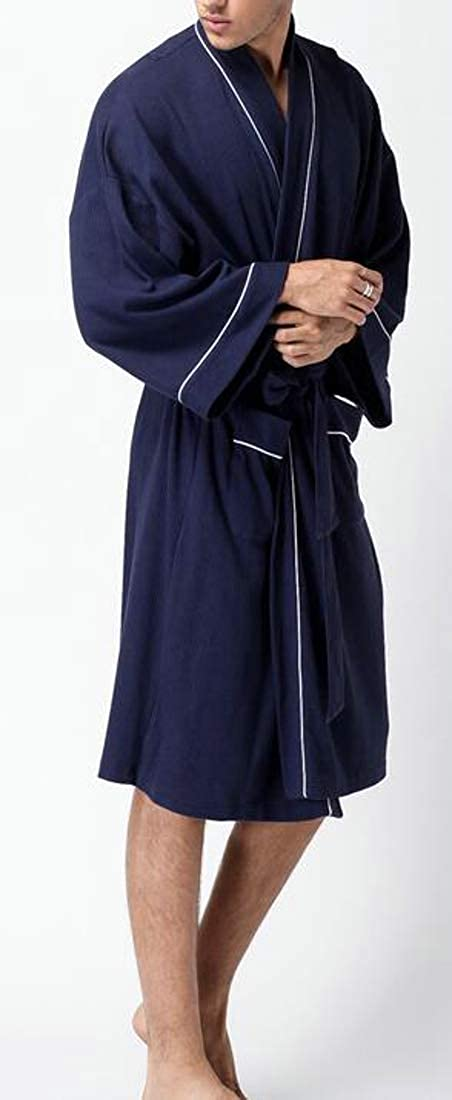 Cromoncent Mens Waffle Soft Cotton Cozy Bathing Lounge Bath Robe Robes