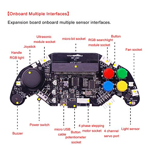 Yahboom Micro:bit BBC Gamepad Expansion Board Handle Microbit Robot Car  Joystick STEM Toys Programming Game Controller (Without Micro:bit)