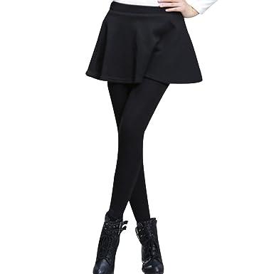 6080c552220a1 OCHENTA Women's Thermal Winter Fleece Lined Pants Flared Skirt Leggings  Tights Black S ...