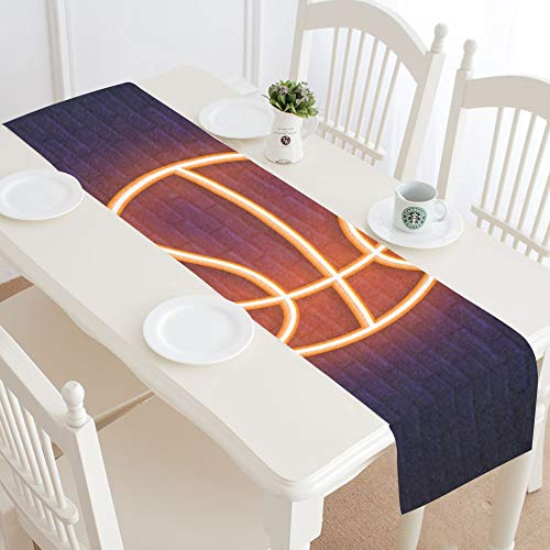 - WIEDLKL Basketball Neon Icon Design Element Table Runner Kitchen Dining Table Runner 16x72 Inch for Dinner Parties Events Decor
