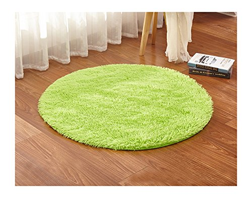Ultra Soft Round Shaped Bedroom Carpet,Decorative Living Room Shaggy Area Rug,Fluffy Kids Playing and Yoga Mat with Anti-Slip Bottom (Lime (Bright Lime Modern Kids Rug)