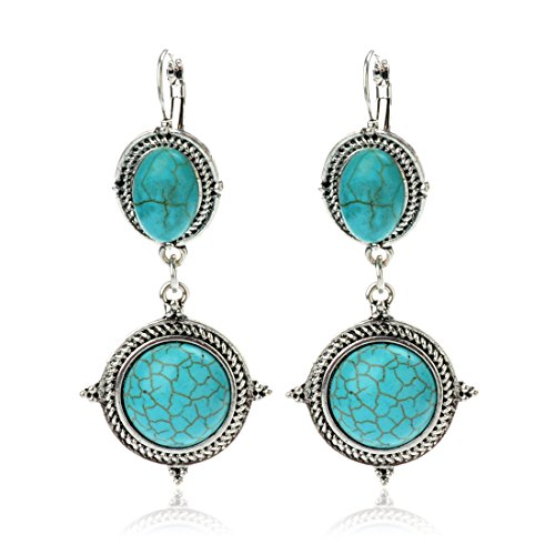 Tagoo Tibetan Tribal Silver Plated Imitation Turquoise Ball Dangle Earrings