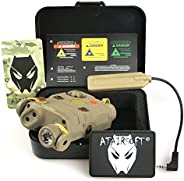 ATAIRSOFT (Airsoft Version) AN-PEQ-15 Upgrade Version PEQ-15 Style Battery Box Red Sight + LED Flashlight DE T