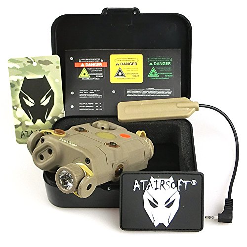 ATAIRSOFT (Airsoft Version) AN-PEQ-15 Upgrade Version PEQ-15 style Battery Box Red Laser Sight + LED Flashlight DE Tan for AEG GBB CQB (Box Peq)