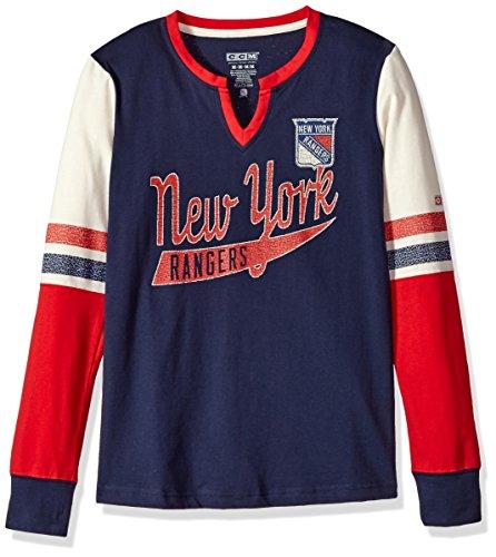 adidas NHL New York Rangers Ccm Henley Tee, Navy, Medium