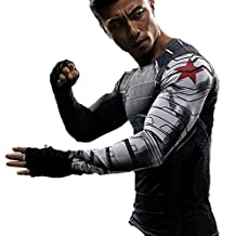 Winter Soldier Shirt Costume for Bucky Cosplay Black T-shirt for Men M
