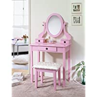 Roundhill Furniture 3415PI Moniys Wood Moniya Makeup Vanity Table and Stool Set, Pink