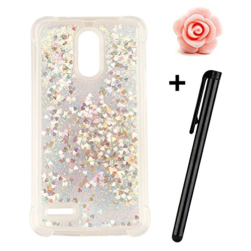 LG Stylus 3 Bling Case,LG LS777 Case,TOYYM Ultra-Thin Air Cushion Corners  Shock-Proof Clear Glitter Flowing Bumper Case [Dual Layer] Back Shell for  LG