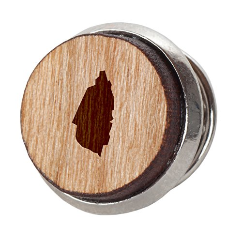 Saint Lucia Stylish Cherry Wood Tie Tack- 12Mm Simple Tie Clip with Laser Engraved Design - Engraved Tie Tack Gift