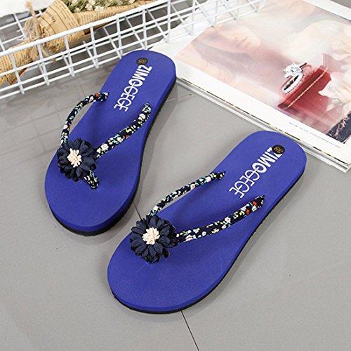 Sandals Floral Flops Blue Jiyaru Women's Beach Casual Flip Summer Slide Flats Slippers pqEX4wS