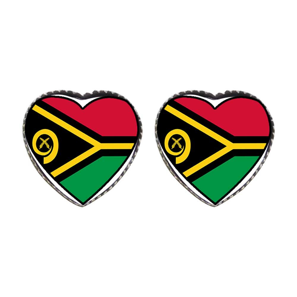GiftJewelryShop Bronze Retro Style Vanuatu flag Photo Stud Heart Earrings #12