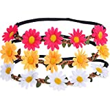 eBoot 3 Pieces Daisy Flower Headband Crown with Adjustable Elastic Ribbon for Wedding