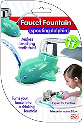 Faucet Drinking Fountain, Best Kids Water Dispenser, Makes Toothbrush Time Fun For All Ages, One Step Installation Takes Seconds, Saves Mess & Water - Dolphin (2 Pack)
