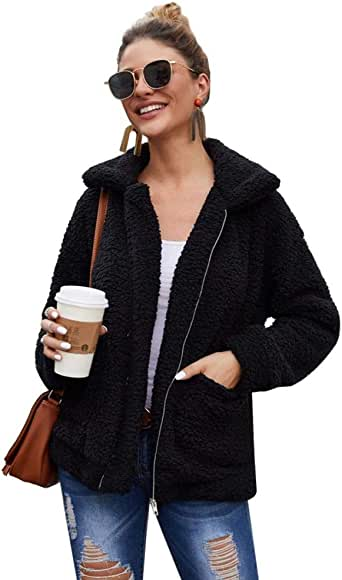 Kiss me Womens Shaggy Jacket, Casual Fashion Cardigan Coat Lapel Fleece Fuzzy Jacket Faux Shearling Jacket