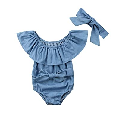 Wang-RX Newborn Kids Ruffles Denim Romper Baby Girls Bowknot ...