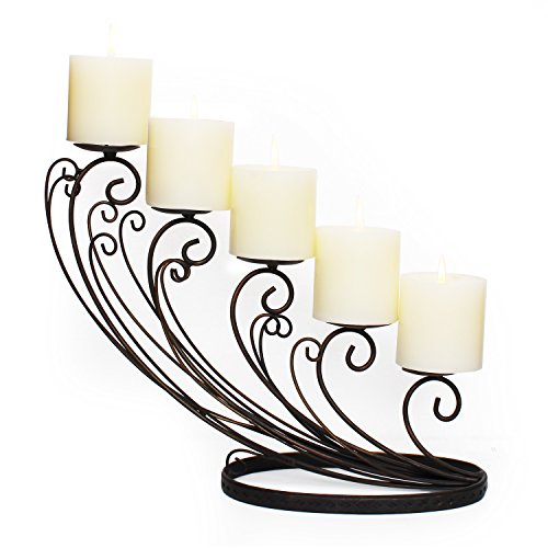 (Adeco HD0026 Decorative Iron Tabletop 5-Candle Pillar Candle Holder, Sloping Design, Black with Antique Finish)
