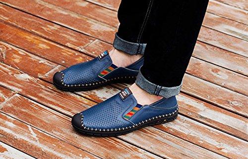 SK On Casual Mocasines Stutio Conducción Planos Azul Zapatos Zapatillas Cuero Hombre de de Moda para Slip Loafers BB1rq