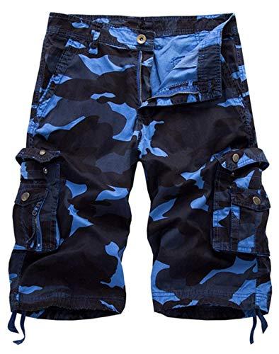 Pantalones Cortos Sin Mangas De Los Hombres Pantalones Moda De Trabajo Pantalones Cortos De La Cintura Media Hombres De Los Hombres del Trabajo Ocasional del Bolsillo Himmelblau