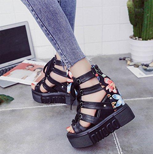 sandali con scarpe da di romano spessore pendenza l'aumento di alta pizzo bocca All'interno di pesce di con donna scarpe MEILI 4aqRxn