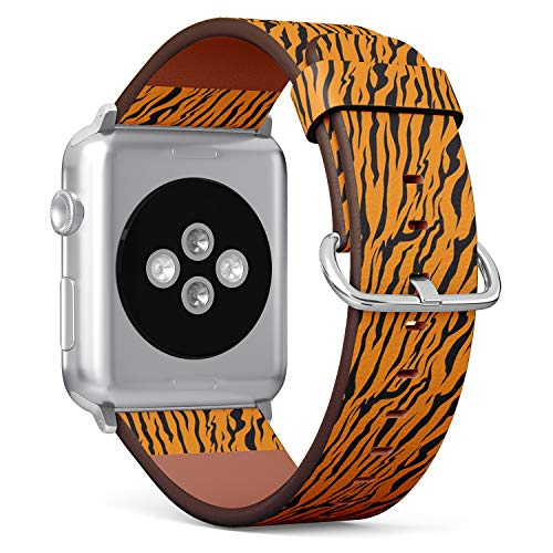 (Compatible with Small Apple Watch 38mm & 40mm Leather Watch Wrist Band Strap Bracelet with Stainless Steel Clasp and Adapters (Stripe Animals Jungle Tiger Fur))