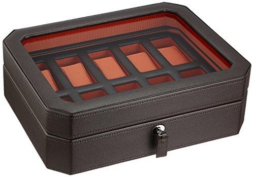 WOLF 458406 Windsor 10 Piece Watch Box, Brown