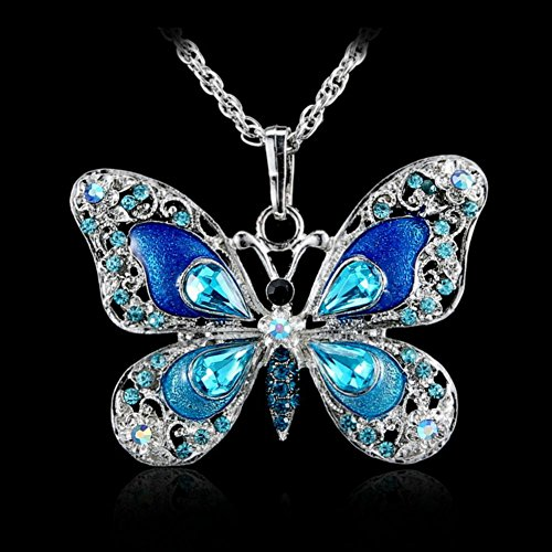 Aysekone Beautiful Alloy Rhinestone Butterfly Long Necklaces Sweater Necklace Fashion Enamel Butterfly Necklace for Women ()