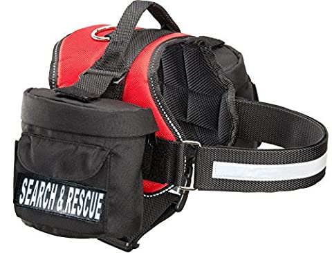 Search & Rescue Dog Harness with Removable Saddle Bag Backpack Harness Carrier Traveling. 2 removable SEARCH & RESCUE Velcro patches. Please measure dog before (Search Del)