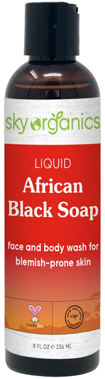 African Black Soap - Raw Natural Soap Ideal for Acne, Eczema, Dry Skin, Psoriasis, Scar Removal, Face & Body Wash, Authentic Liquid Black Soap From Ghana (8oz) with Cocoa, Shea Butter & Aloe (1 Pack)