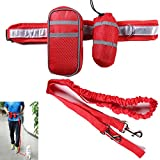 Hand Free Leash for Dogs,Lonni 4 in 1 Reflective Running Belt Waist Pouch Pack Pet Food Carrier for Day Night Running,Walking(Red)